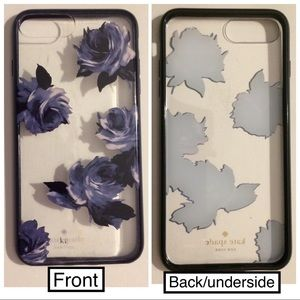 kate ♠️ blue & black flower cover iPhone 6+/7+/8+